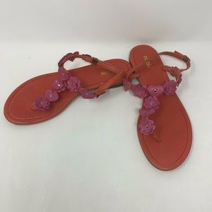 Worn Once! NICOLE Leather Coral Floral Sandals